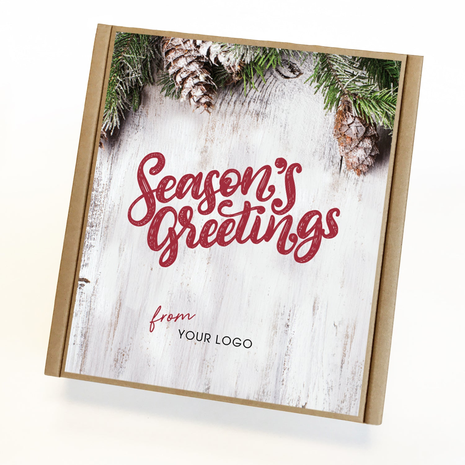 Pineboard Seasons Greetings Eco Custom Caramel Holiday Gift Box