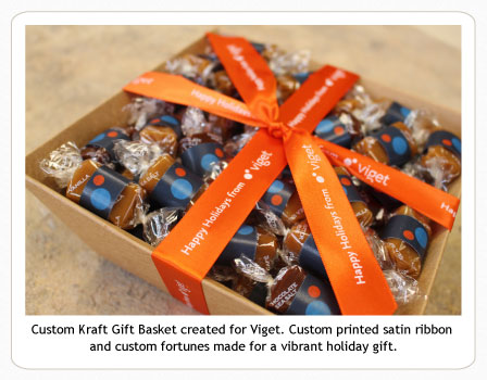 Custom Kraft caramel Gift Basket with ribbon