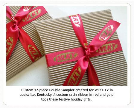 Custom six-piece caramel sampler with ribbon