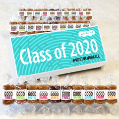 All-natural caramel graduation gifts wrapped in quotes for the class of 2020
