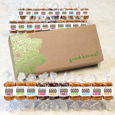 All-natural caramel mandala gift box wrapped in quotes