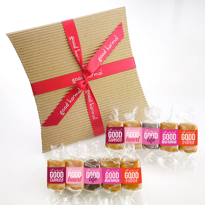 All-natural caramel candy Valentine's Day Gift Sampler tied with red ribbon