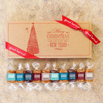 Old-fashioned Merry Christmas and Happy New Year caramel candy gift box