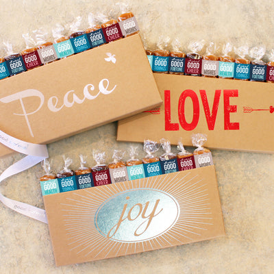 Peace Love Joy caramels wrapped in positive quotes for hoiday gifts