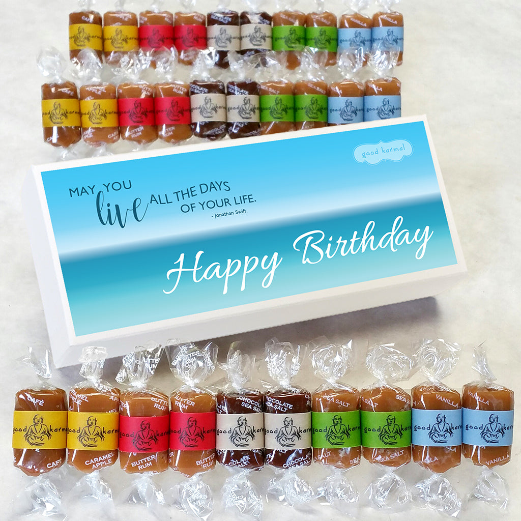 Good Karmal Birthday Caramel Gift Box - wrapped in happy quotes.