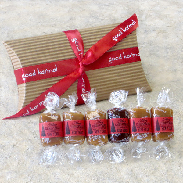 Good Karmal's Christmas Caramel Flavor Sampler contains six all-natural, creamy caramels wrapped in positive quotes.
