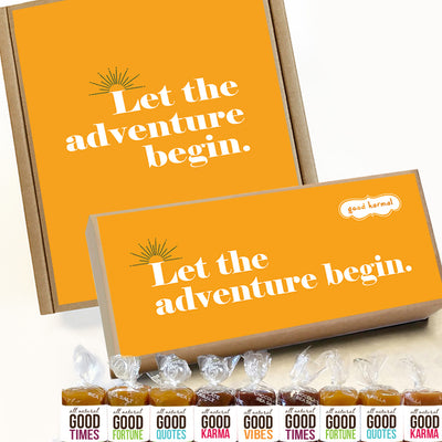 Let the adventure begin caramel gift box wrapped in quotes and good karma