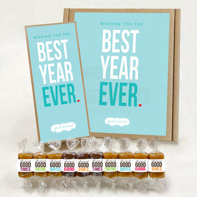 Best Year Ever caramel candy gift box for birthdays, anniversaries, special occasions