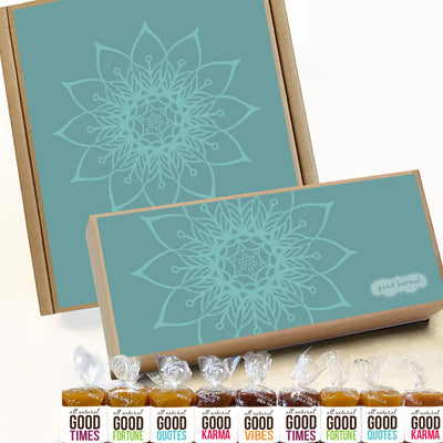 All-natural caramel tranquil mandala gift box wrapped in positive quotes