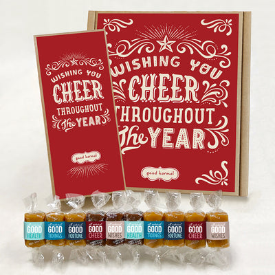 Holiday cheer all natural New Year's caramel gift box Good Karma
