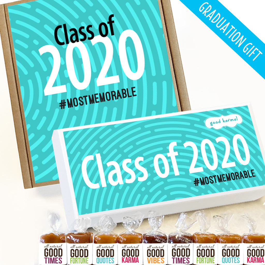 Inspiring graduation quotes and caramel gifts for students.