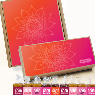 All-natural caramel bright mandala gift box wrapped in positive quotes