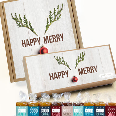 Happy Merry Reindeer caramel candy holiday gift box