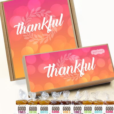 Thankful gift boxes filled with all-natural caramel wrapped in positive quotes