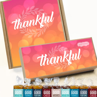 Thankful holiday gift boxes filled with all-natural caramel wrapped in positive quotes