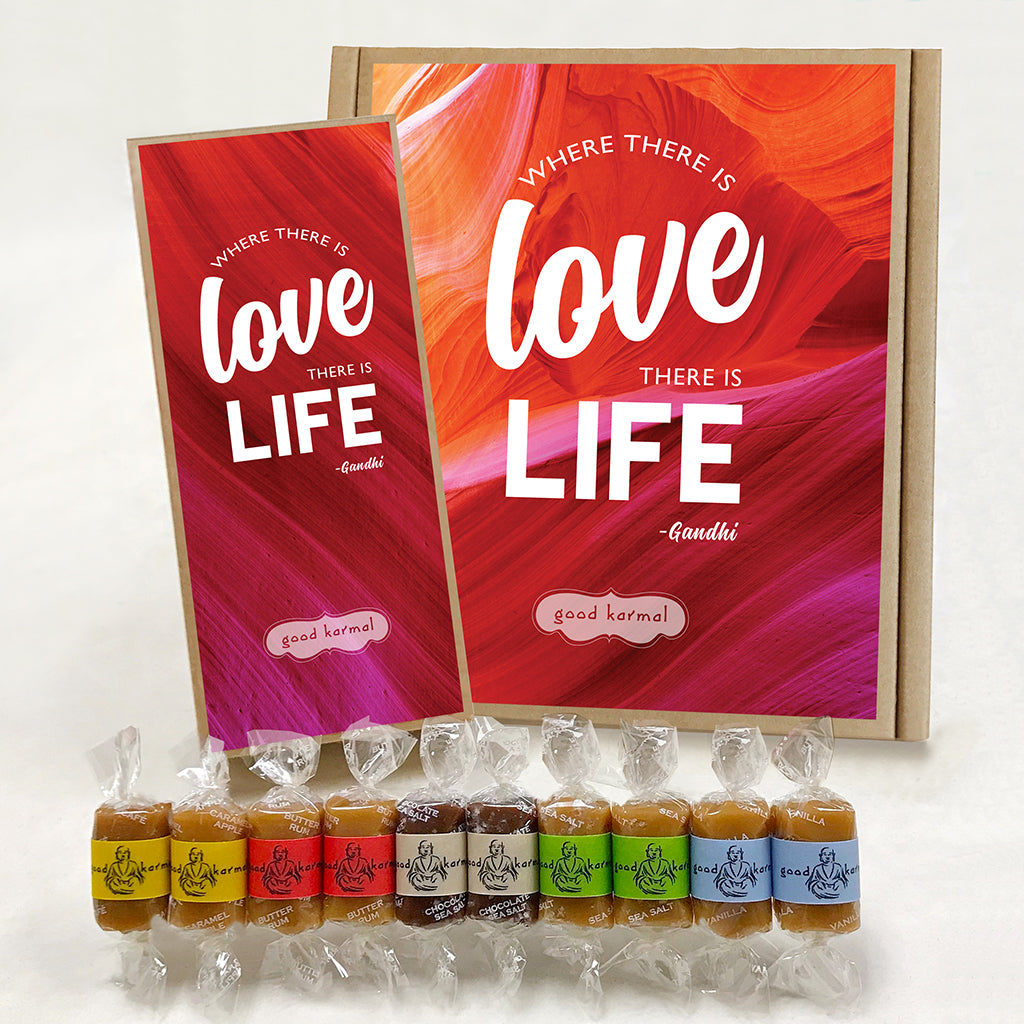 Gourmet caramel gifts wrapped in quotes about love and life.