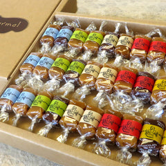 Eco Caramel Gift Box - 30 or 60 all-natural, creamy caramels wrapped in positive quotations and packaged in an eco-friendly box.
