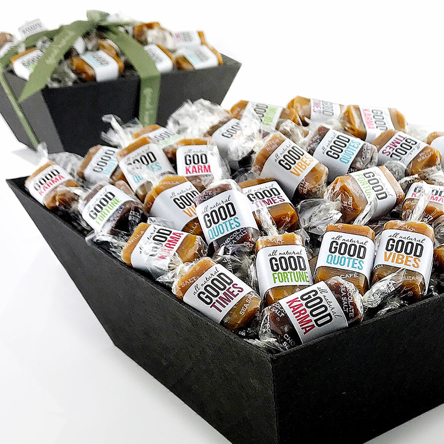 Good karma caramel gift basket filled with positive quotes