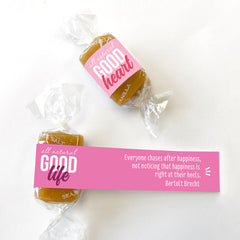 All-natural caramel wrapped in positive quotes for Valentine's Day