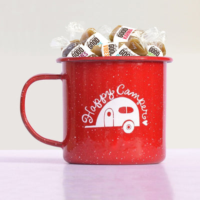 Happy Camper Enamel camp mug with all-natural caramel gift set