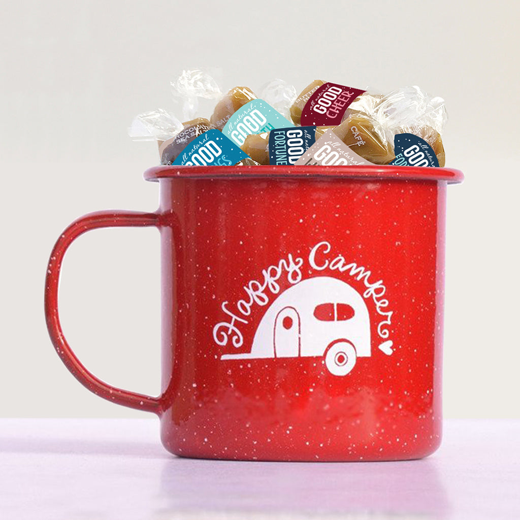 Happy Camper enamel mug filled with Holiday Caramel