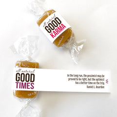 All-natural, kosher caramel candy wrapped in positive quotes for good karma