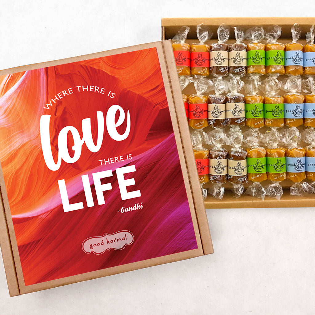 Love life gourmet caramels wrapped in positive quotes.