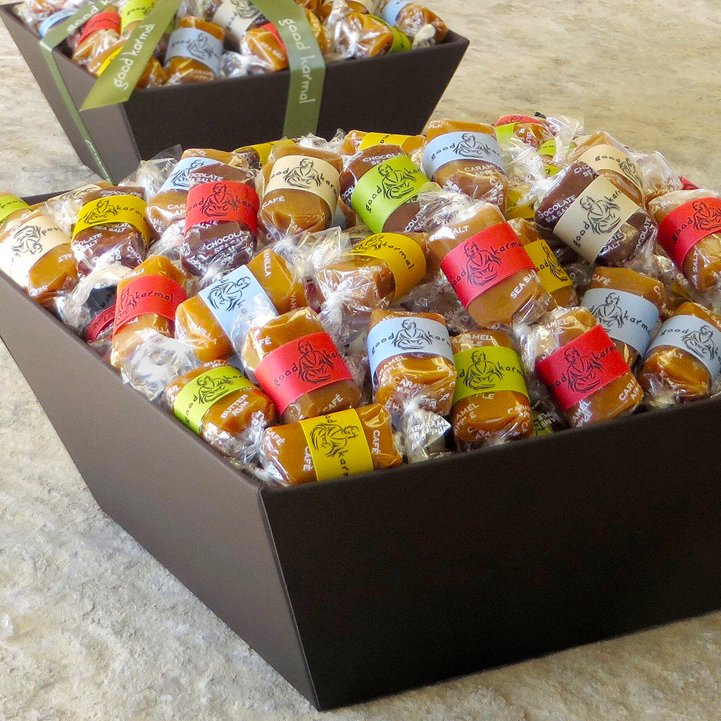 Good Karmal all-natural, luxe caramel gift basket with inspirational quotes.