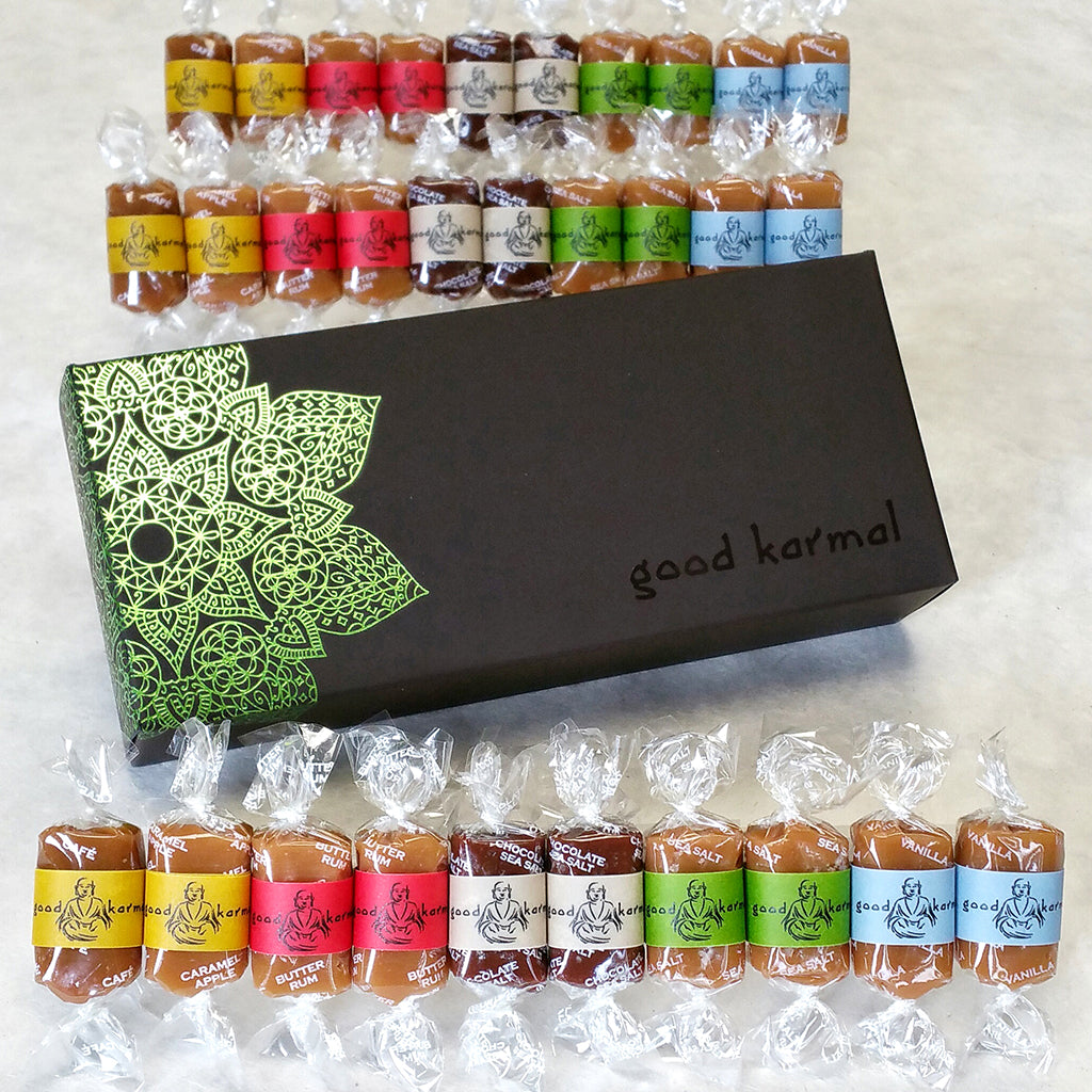 Good Karmal's all-natural, luxe caramel gift box with encouraging quotes.