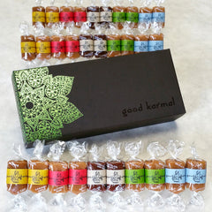 Good Karmal all-natural, luxe caramel gift box with positive quotes.