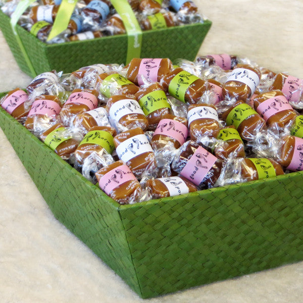Good Karmal New Baby Caramel Gift Baskets - 60, 90, 120 or 150 pieces of all-natural, creamy caramel wrapped in quotes on babies and parenting.