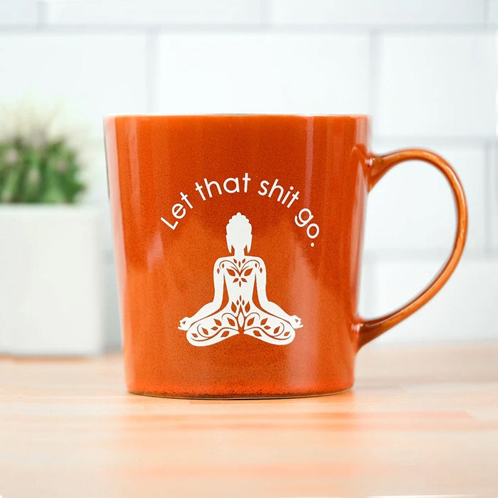 Let that sh*t go sweary coffee tea mug filled with good karma caramels