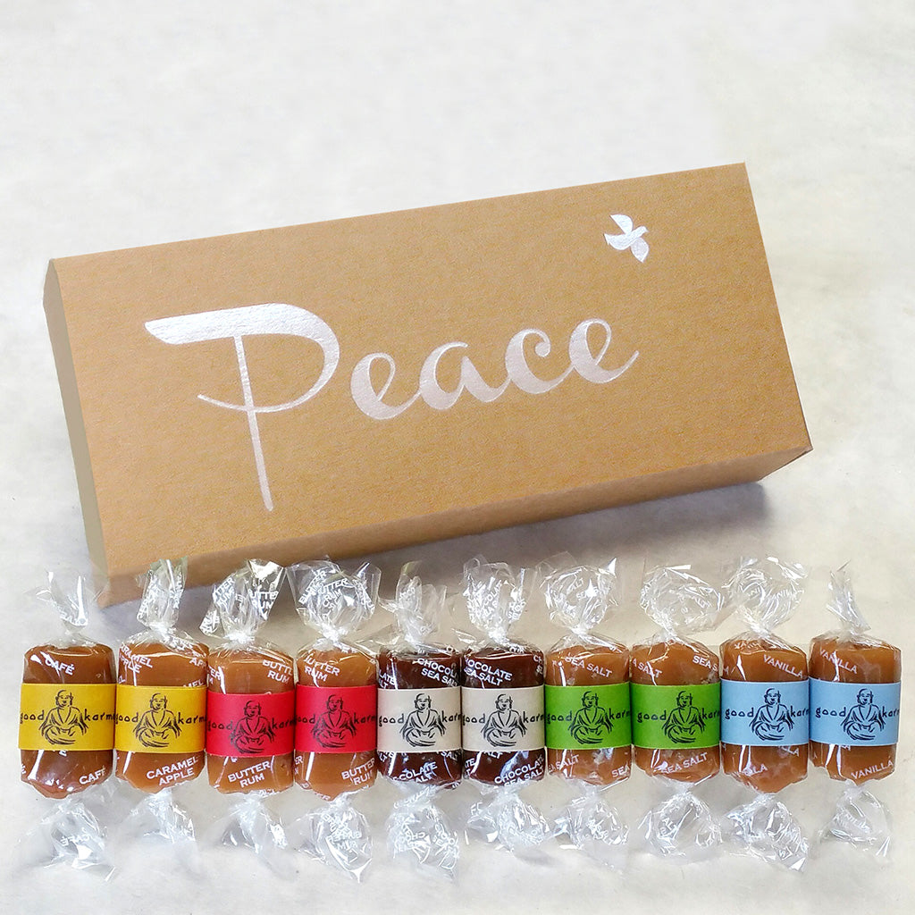 Good Karmal sympathy gifts. All-natural, gourmet caramel gifts wrapped in positive quotes.