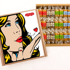 Pop art gift box filled with gourmet caramel wrapped in quotes about life.