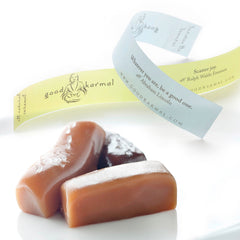 Good karma gourmet caramel gifts wrapped in inspirational quotes.