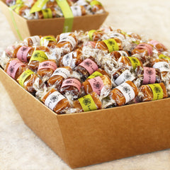 Good Karmal's Spring Caramel Gift Baskets - 30, 60, 90, 120 or 150 pieces of all-natural caramel wrapped in positive quotes.