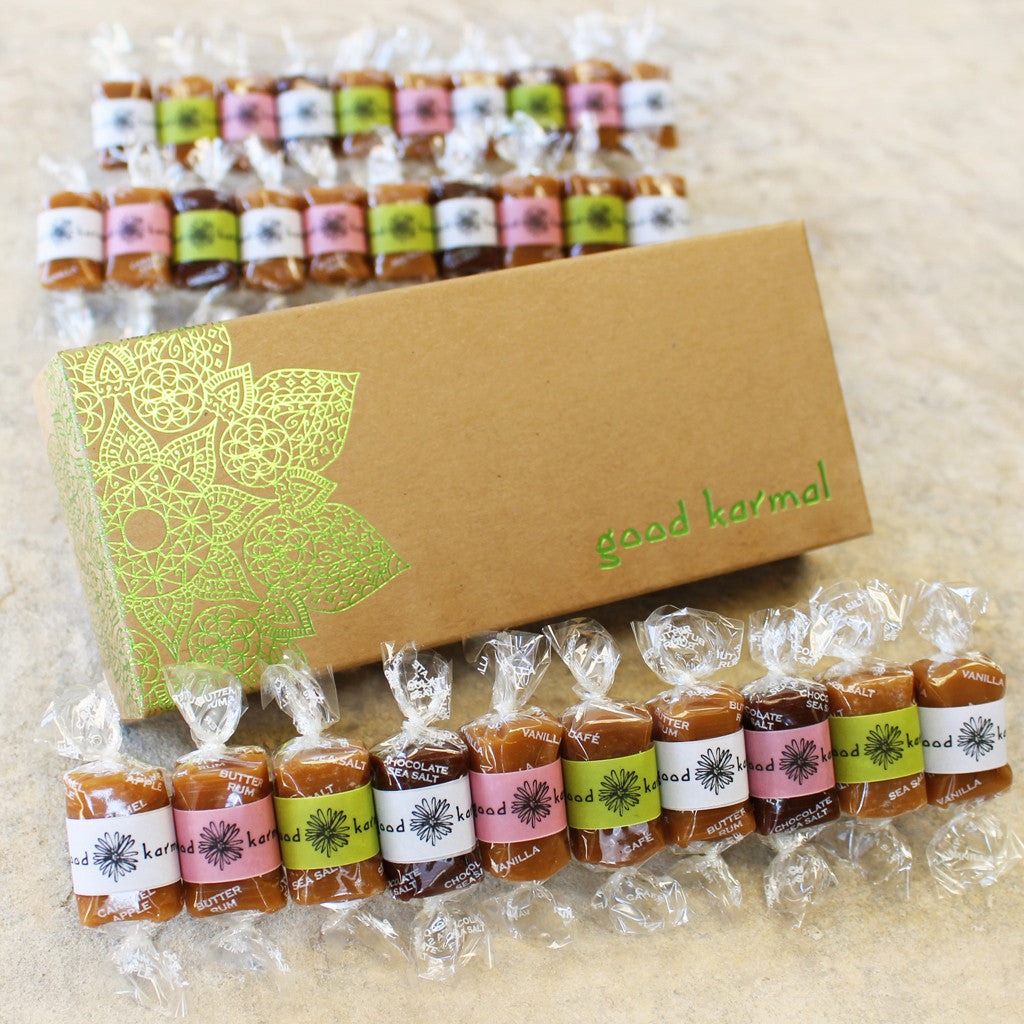 Good Karmal's Spring Caramel Gift Box - 10, 20 or 30 all-natural caramels wrapped in positive quotations.