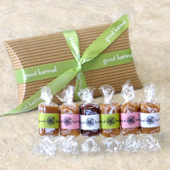 Good Karmal's spring caramel flavor sampler gift- six all-natural, soft caramels wrapped in positive quotes.