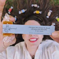 Good Karmal gourmet caramel gifts wrapped in positive quotes.