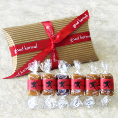 Good Karmal's Valentine's Caramel Flavor Sampler contains six all-natural, creamy caramels wrapped in positive quotes.