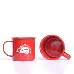 Happy Camper enamel camping mug filled with caramels and quotes