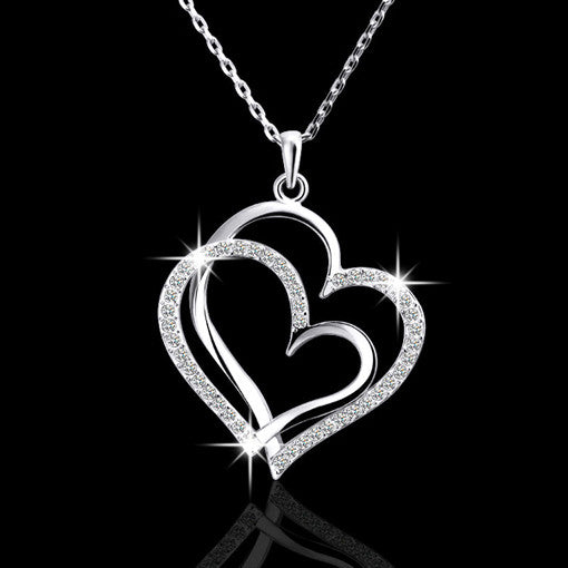 Silver Rhinestone Heart Necklace - Omnia