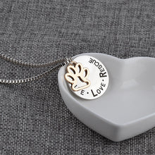 LIVE LOVE RESCUE Silver Paw Print Necklace - Omnia