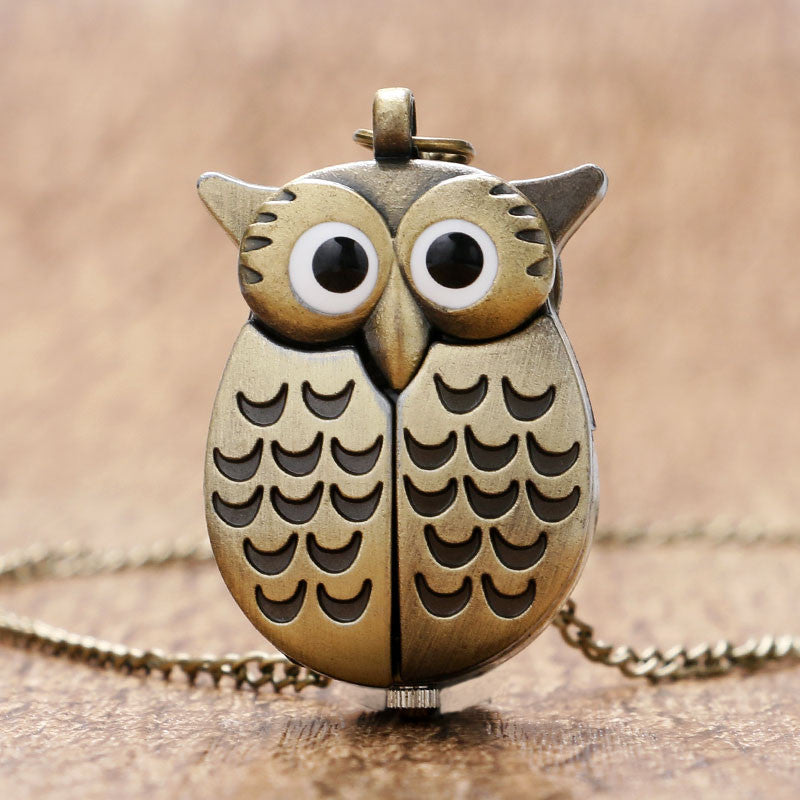 Bronze Night Owl Necklace with Hidden Clock Face - Omnia
