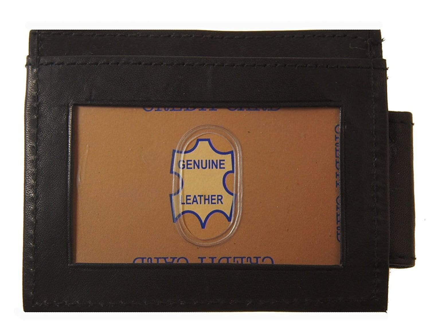 Leather Magnetic Money Clip with card slots and Outside ID window