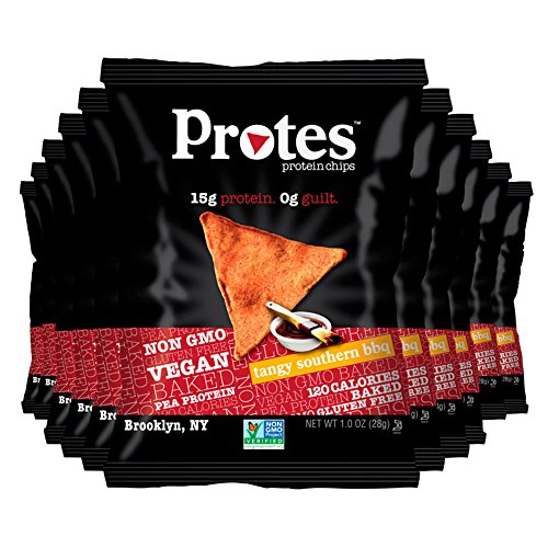 Protes - Pea Protein Isolate Vegan Protein Chips - Delicious Taste With 0g of Guilt (Tangy Southern BBQ, 24 Bag of 1oz) - Sauté