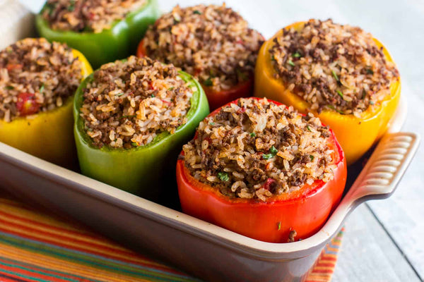 Pork and rice stuffed peppers