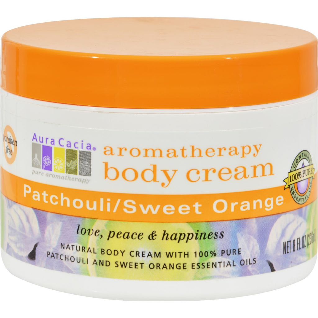Aura Cacia Body Cream Patchouli and Sweet Orange - 8 oz