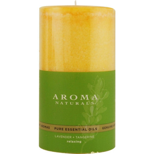 RELAXING AROMATHERAPY by Relaxing Aromatherapy ONE 2.75 X 5 inch PILLAR AROMATHERAPY CANDLE.  COMBINES THE ESSENTIAL OILS OF LAVENDER AND TANGERINE TO CREATE A FRAGRANCE THAT REDUCES STRESS.  BURNS APPROX. 75 HRS