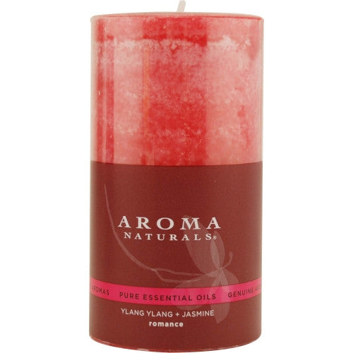 ROMANCE AROMATHERAPY by Romance Aromatherapy ONE 2.75 X 5 inch PILLAR AROMATHERAPY CANDLE.  COMBINES THE ESSENTIAL OILS OF YLANG YLANG & JASMINE TO CREATE PASSION AND ROMANCE.  BURNS APPROX. 70 HRS.
